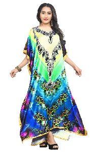 Digital Printed Satin Silk Long Kaftans Kurtas For Women