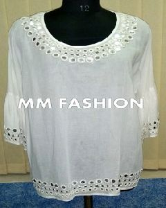 Mirror Work White Color Full Sleeve Tunic Top