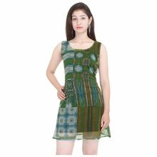 Green Chiffon Knitted Inner Casual Dress