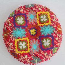 Embroidered Round Floor Cushion