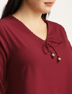 Full Sleeve Burgundy Cotton Top