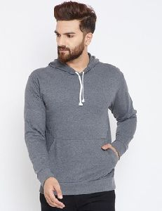 Men Long Sleeve Round Neck Grey Cotton Sweat-shirt