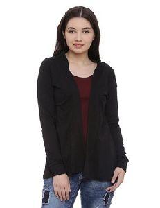 Women Solid Black Colour Cotton Shrug