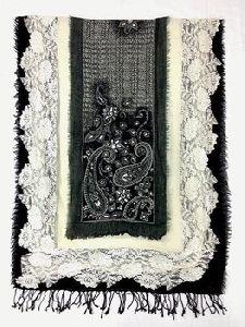 Fancy Beads Lace Wool Shawl