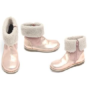 Kids Ankle Boot In Pink With Fur