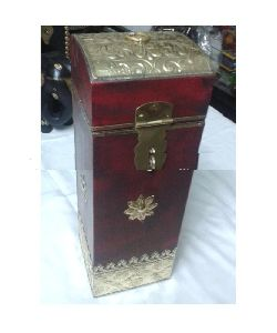 Handmade Brass Fitted Wooden Wine Box