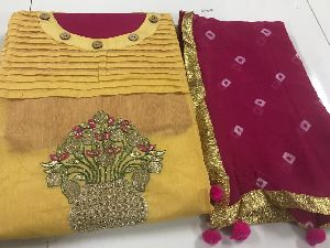 Bandhani Concept With Cotton Dress Material