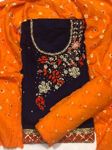 DHAMAL HEAVY EMBROIDERY DRESS MATERIAL