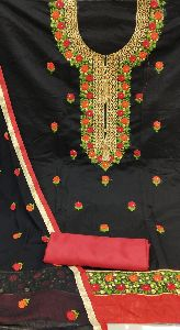 MODAL CHANDERI WITH BUTTI WORK DRESS MATERIAL