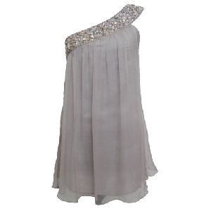 One Shoulder Embellish Chiffon Dress