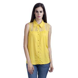 Lace Yoke Plain Shirt