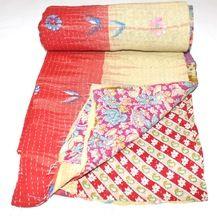 Indian Vintage Cotton Kantha Quilt Reversible Bedding Bedspread Quilt