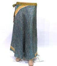 Indian Women Vintage Double Layer Silk Sari Skirt