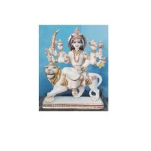 White Makrana Marble Durga Statue Handicraft