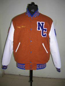 Orange and White Varsity Jacket