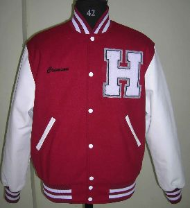 Scalrlet Red And White High School Varsity Jacket