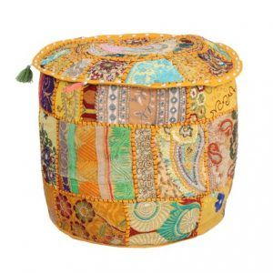 Embroidered Patchwork Pouf Cover