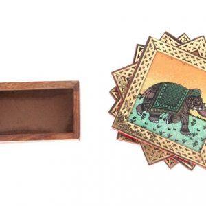 Gemstone Elephant Painting Tea or Coffee Coaster