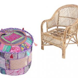 Indian Home Decorative Handmade Vintage Pouf Cover Ottoman Cover