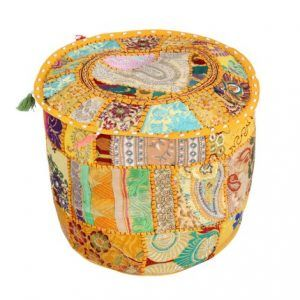Ottoman Cover Indian Embroidered Patchwork Pouf Cover