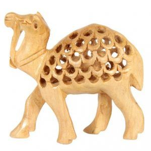 Wood Carved Camel figurine statue sculpture hand carving home decor