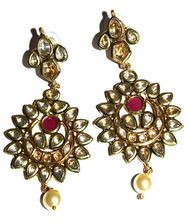 Sterling Silver Overlay Gold Plated 60gm Polki Earring