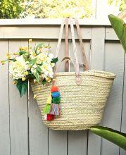 Moroccan Wicker Basket Large Leather Handles, Basket Bag Bohemian Straw Basket