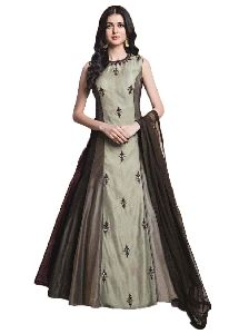 Ladies Party Wear Brown Embroidered Gown