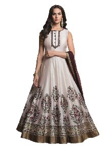 Ladies Party Wear Ghost White Handworked Gown