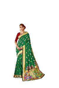 Wedding Wear Green Paithani Silk Saree