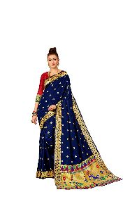 Wedding Wear Navy Blue Paithani Silk Saree