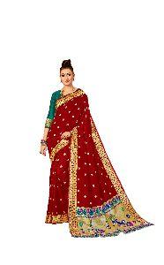 Wedding Wear Red Paithani Silk Saree
