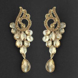 1315604 Tip Top Fashions Brown Crystal Stone Dangler Earrings