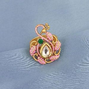 1504731a Tip Top Fashions Ad Kundan Adjustable Copper Ring