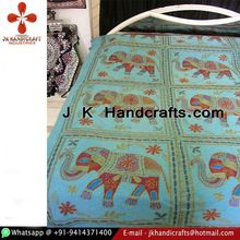 Multi Color Thread Cotton Embroidered Bed Sheet