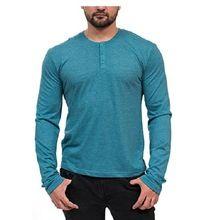 Custom Fashion Mens Long Sleeve T-shirts With Pocket Henley