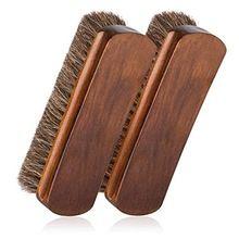 A Horse Hair Bristles Wooden Shoe Polish Buffing Brush