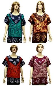 Cotton Casual Women\\\'s Batik Block Printed Short Kurti