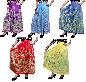 Hippie Indian Rayon Boho Embroidered Sequin Work Long Skirt Dress