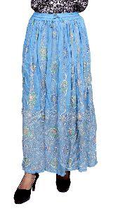 Indian Blue Boho Rayon Embroidered Sequin Work Elastic Waist Hippie Skirt