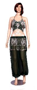 Set Of Green Color Hot Belly Dance Costume, Beaded Halter Top And Full Pants Set With White Coins