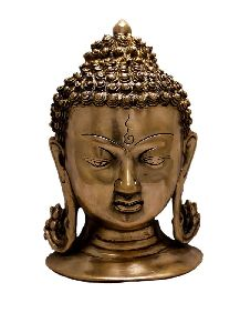 Two Tone Lord Buddha Head Brass Idol Sculpture Wall Hanging
