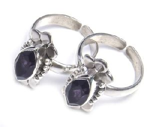 Purple Amethyst Gemstone 925 Sterling Silver Toe Ring