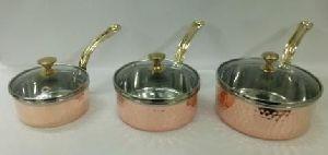 Copper Steel Glass Lid Sauce Pan
