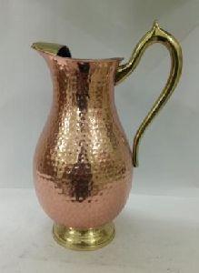 Mughlai Copper Jug With Brass Handle