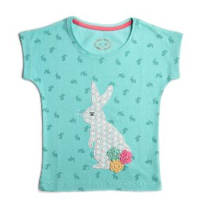 Girl Light Blue Top With Rabbit Lace