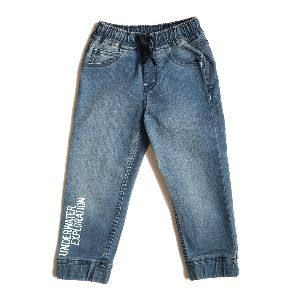 Boys Medium Washed Denim Joggers With Print