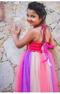 Pink Purple Rapunzel Fairy Kids Ball Gown