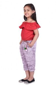 Red Kids Canvas Pant With Off-shoulder Top