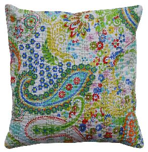 Embroidered Kantha Paisley Throw Couch Pillow Cushion